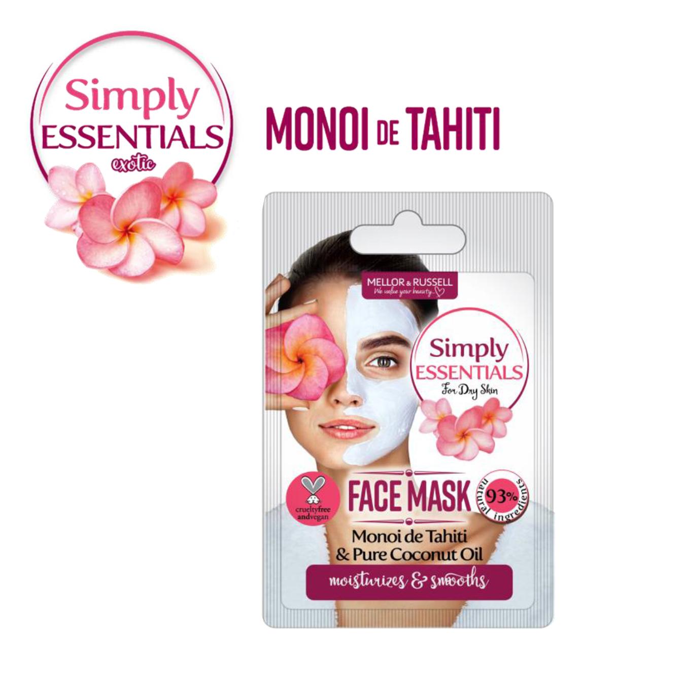 Simply Essentials Monoi de Tahiti Маска для лица с маслом Моной де Таити, 7 мл, саше