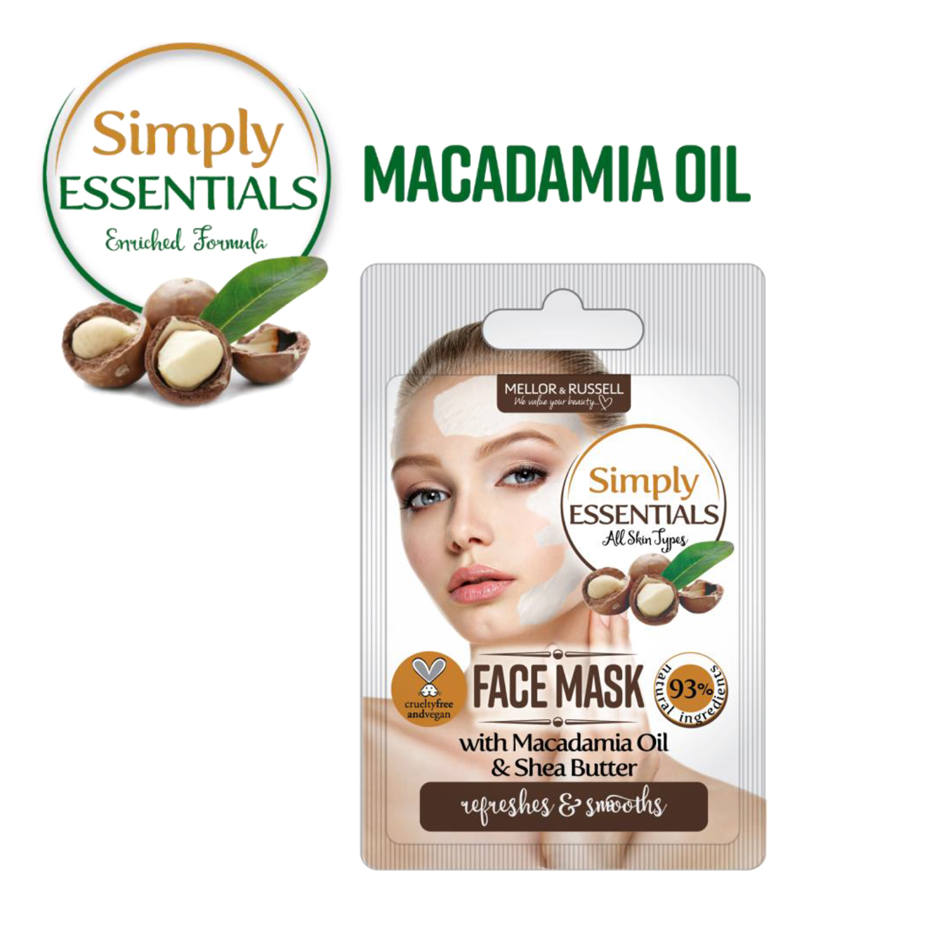 Simply Essentials Macadamia Oil Маска для лица с маслом Макадамии, 7 мл, саше